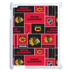 Chicago Blackhawks Nhl Block Fleece Fabric Apple Ipad 2 Case (white) by Onesevenart