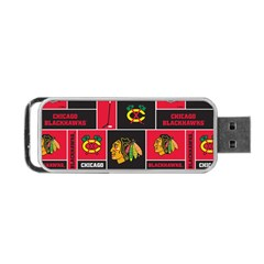 Chicago Blackhawks Nhl Block Fleece Fabric Portable Usb Flash (one Side) by Onesevenart