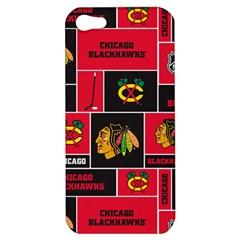 Chicago Blackhawks Nhl Block Fleece Fabric Apple Iphone 5 Hardshell Case by Onesevenart