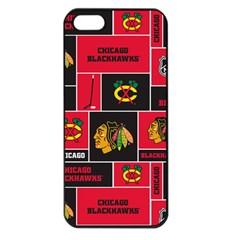 Chicago Blackhawks Nhl Block Fleece Fabric Apple Iphone 5 Seamless Case (black) by Onesevenart