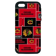 Chicago Blackhawks Nhl Block Fleece Fabric Apple Iphone 5 Hardshell Case (pc+silicone) by Onesevenart