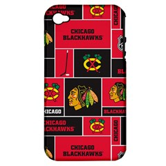 Chicago Blackhawks Nhl Block Fleece Fabric Apple Iphone 4/4s Hardshell Case (pc+silicone) by Onesevenart