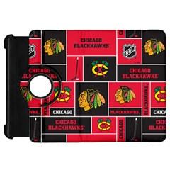 Chicago Blackhawks Nhl Block Fleece Fabric Kindle Fire Hd Flip 360 Case by Onesevenart