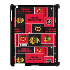 Chicago Blackhawks Nhl Block Fleece Fabric Apple Ipad 3/4 Case (black) by Onesevenart