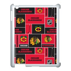 Chicago Blackhawks Nhl Block Fleece Fabric Apple Ipad 3/4 Case (white) by Onesevenart