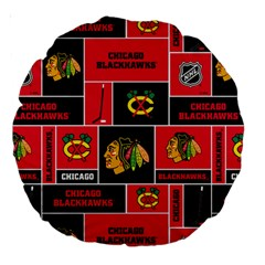 Chicago Blackhawks Nhl Block Fleece Fabric Large 18  Premium Round Cushions by Onesevenart