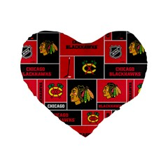 Chicago Blackhawks Nhl Block Fleece Fabric Standard 16  Premium Heart Shape Cushions by Onesevenart