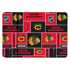 Chicago Blackhawks Nhl Block Fleece Fabric Samsung Galaxy Tab 8 9  P7300 Flip Case by Onesevenart