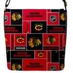 Chicago Blackhawks Nhl Block Fleece Fabric Flap Messenger Bag (S)