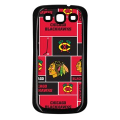 Chicago Blackhawks Nhl Block Fleece Fabric Samsung Galaxy S3 Back Case (black) by Onesevenart