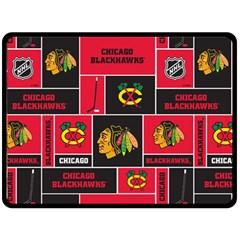 Chicago Blackhawks Nhl Block Fleece Fabric Double Sided Fleece Blanket (large)  by Onesevenart