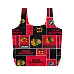 Chicago Blackhawks Nhl Block Fleece Fabric Full Print Recycle Bags (M)