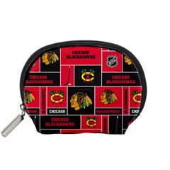 Chicago Blackhawks Nhl Block Fleece Fabric Accessory Pouches (small)  by Onesevenart