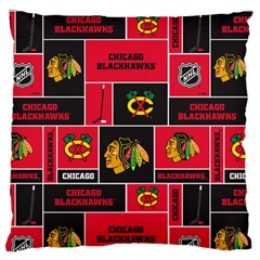 Chicago Blackhawks Nhl Block Fleece Fabric Standard Flano Cushion Case (two Sides) by Onesevenart