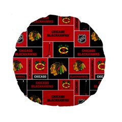 Chicago Blackhawks Nhl Block Fleece Fabric Standard 15  Premium Flano Round Cushions by Onesevenart