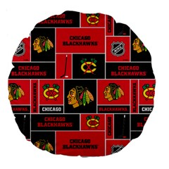 Chicago Blackhawks Nhl Block Fleece Fabric Large 18  Premium Flano Round Cushions by Onesevenart