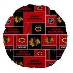 Chicago Blackhawks Nhl Block Fleece Fabric Large 18  Premium Flano Round Cushions