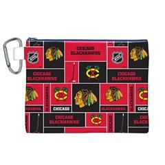 Chicago Blackhawks Nhl Block Fleece Fabric Canvas Cosmetic Bag (xl) by Onesevenart