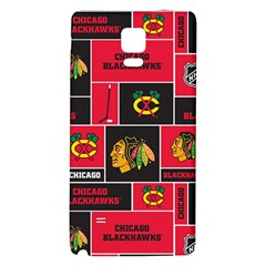Chicago Blackhawks Nhl Block Fleece Fabric Galaxy Note 4 Back Case by Onesevenart
