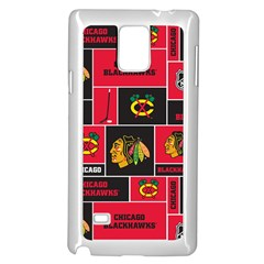 Chicago Blackhawks Nhl Block Fleece Fabric Samsung Galaxy Note 4 Case (white) by Onesevenart