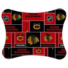 Chicago Blackhawks Nhl Block Fleece Fabric Jigsaw Puzzle Photo Stand (bow) by Onesevenart