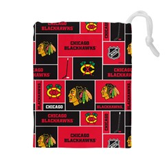 Chicago Blackhawks Nhl Block Fleece Fabric Drawstring Pouches (extra Large) by Onesevenart
