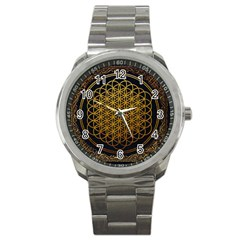 Bring Me The Horizon Cover Album Gold Sport Metal Watch by Onesevenart