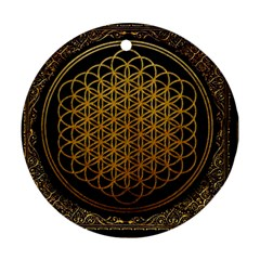 Bring Me The Horizon Cover Album Gold Round Ornament (two Sides)  by Onesevenart