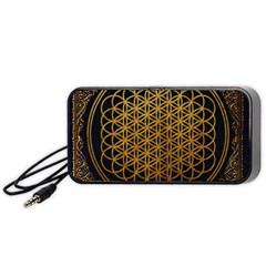 Bring Me The Horizon Cover Album Gold Portable Speaker (black)  by Onesevenart