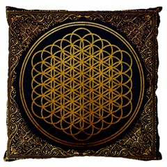 Bring Me The Horizon Cover Album Gold Large Flano Cushion Case (two Sides) by Onesevenart