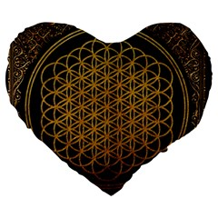 Bring Me The Horizon Cover Album Gold Large 19  Premium Flano Heart Shape Cushions by Onesevenart