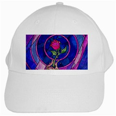 Enchanted Rose Stained Glass White Cap by Onesevenart