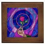 Enchanted Rose Stained Glass Framed Tiles