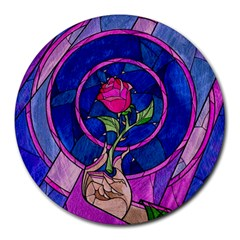 Enchanted Rose Stained Glass Round Mousepads by Onesevenart