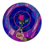 Enchanted Rose Stained Glass Round Mousepads