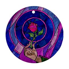 Enchanted Rose Stained Glass Ornament (round)  by Onesevenart