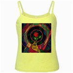 Enchanted Rose Stained Glass Yellow Spaghetti Tank
