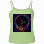 Enchanted Rose Stained Glass Green Spaghetti Tank