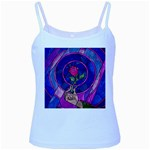 Enchanted Rose Stained Glass Baby Blue Spaghetti Tank