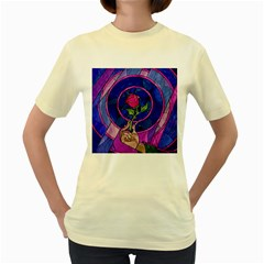 Enchanted Rose Stained Glass Women s Yellow T Shirt by Onesevenart
