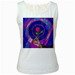 Enchanted Rose Stained Glass Women s White Tank Top