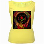 Enchanted Rose Stained Glass Women s Yellow Tank Top
