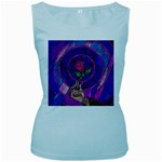 Enchanted Rose Stained Glass Women s Baby Blue Tank Top