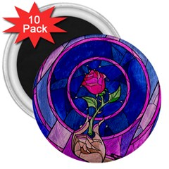 Enchanted Rose Stained Glass 3  Magnets (10 Pack)  by Onesevenart