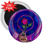 Enchanted Rose Stained Glass 3  Magnets (100 pack)