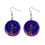 Enchanted Rose Stained Glass Mini Button Earrings