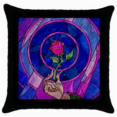 Enchanted Rose Stained Glass Throw Pillow Case (black) by Onesevenart