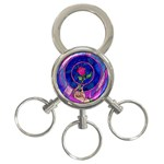 Enchanted Rose Stained Glass 3-Ring Key Chains