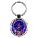 Enchanted Rose Stained Glass Key Chains (Round)