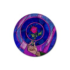 Enchanted Rose Stained Glass Rubber Coaster (round)  by Onesevenart